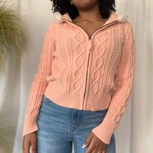 DKNY Jeans Pink Zip up Sweater/Cardigan
